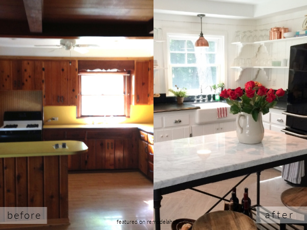 Knotty Pine Kitchen Remodel Ideas, White Cottage Kitchen Before And After, Vintage Redefined On Remodelaholic
