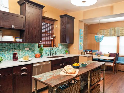 eclectic kitchen with a beautiful mosaic backsplash