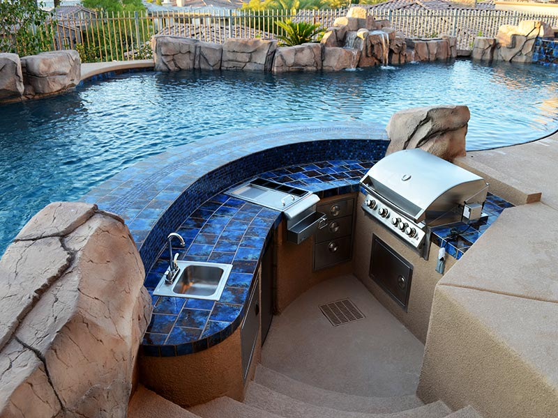 Small outdoor kitchen near the pool Top