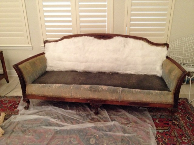 DIY sofa re-upholstering project how-to