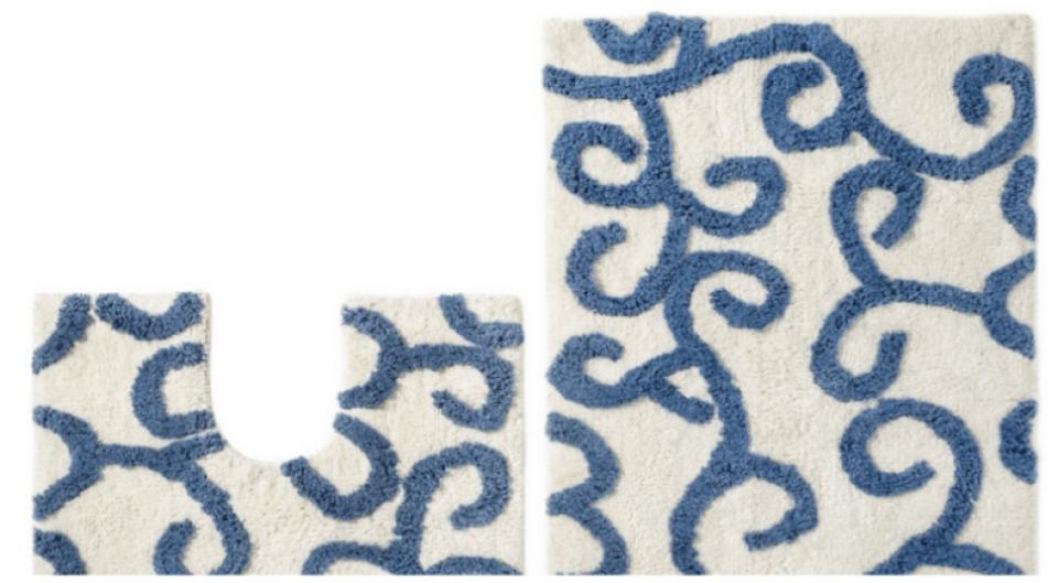 Blue and White Cotton Bath Mat Set