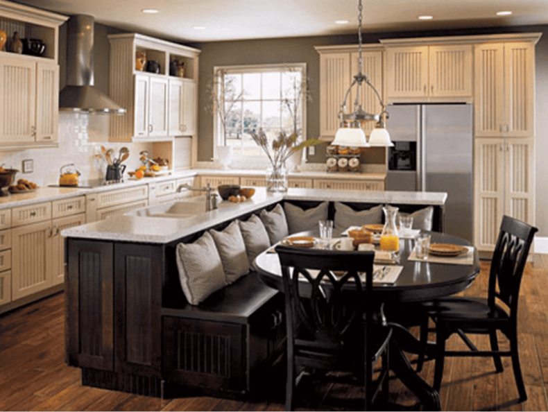 Dark Wood Kitchen Island With Booth Seating Remodeling