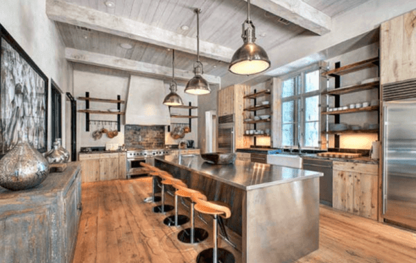 Steel Industrial Kitchen Island with bar seating