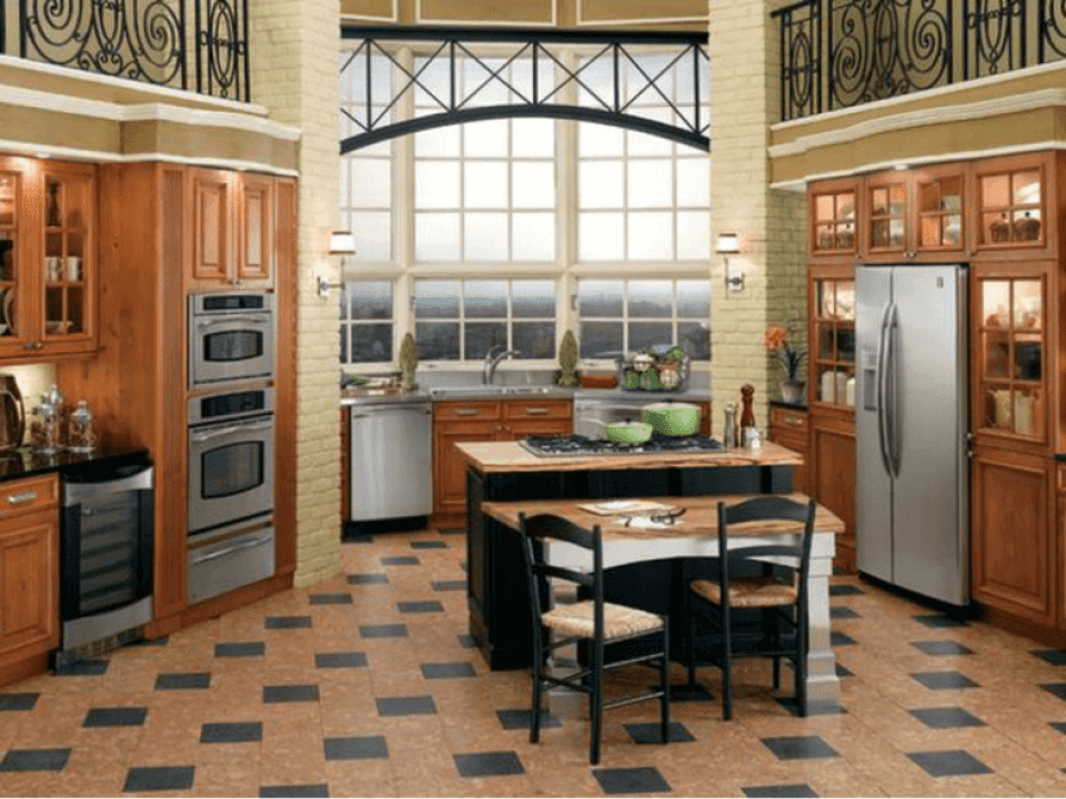 Cork Tile Flooring in a Traditional Style Kitchen