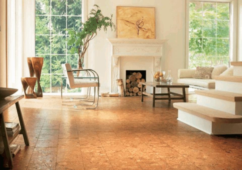 Cork Tiles In a White Living Room