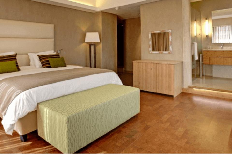 Cork tiles in a modern bedroom