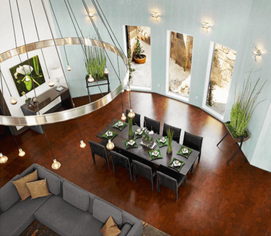 Dark Cork Flooring in a Modern Living Room