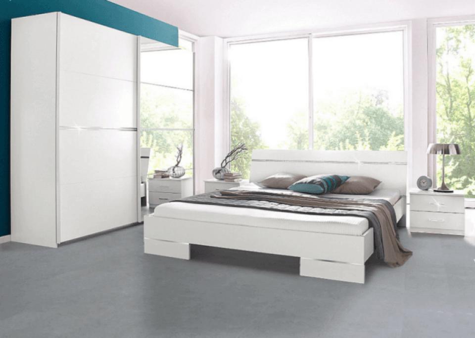 Grey Cork Flooring in a Modern White Bedroom