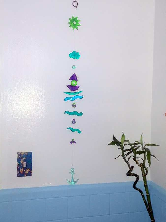 Small Bathroom Decor - Glass Wall Hanging by Orna Lalo