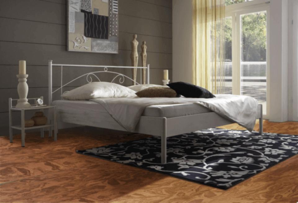 Swirling Cork Flooring in a Master Bedroom