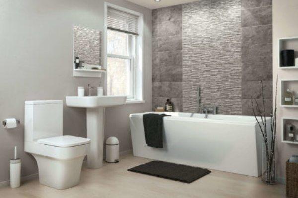 Bathtub installed in a modern bathroom