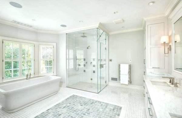 Contemporary bathroom with ceiling trim