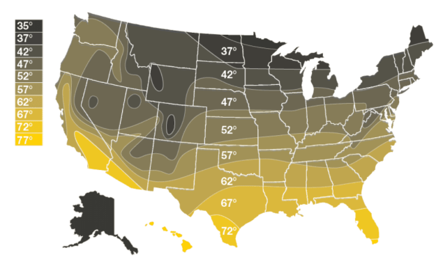 tankless water heater size map
