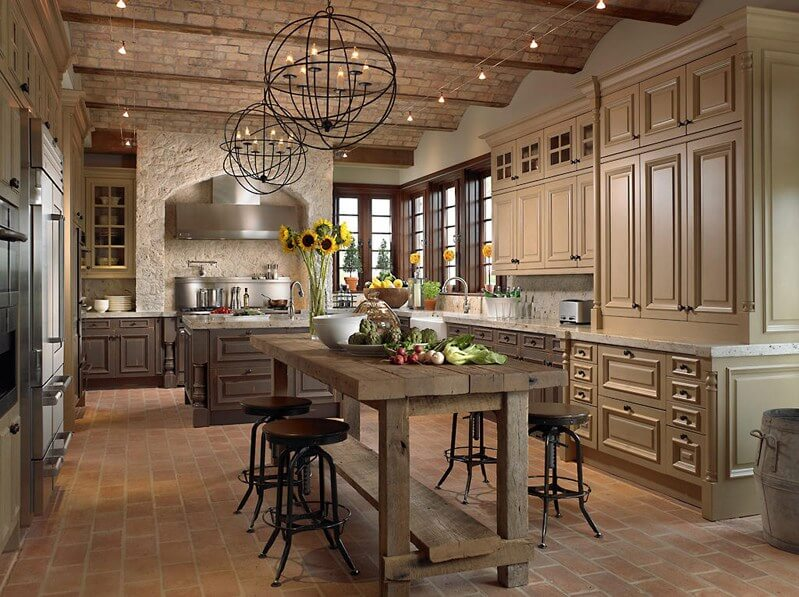 Kitchen Island Lighting In a Tuscan Style Kitchen ...