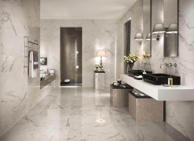 Marble Tile Floor in a Luxury Master Bathroom
