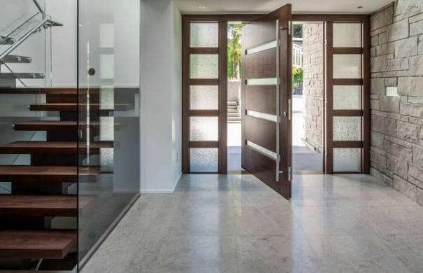 Modern wood entry door