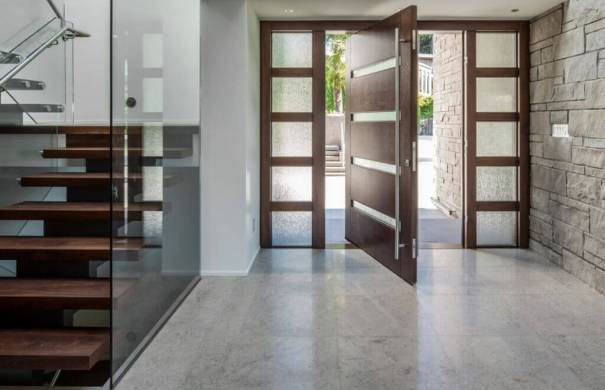 Modern wood entry door