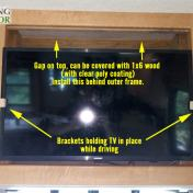 RV Flat Screen TV securing brackets prevent movement while driving