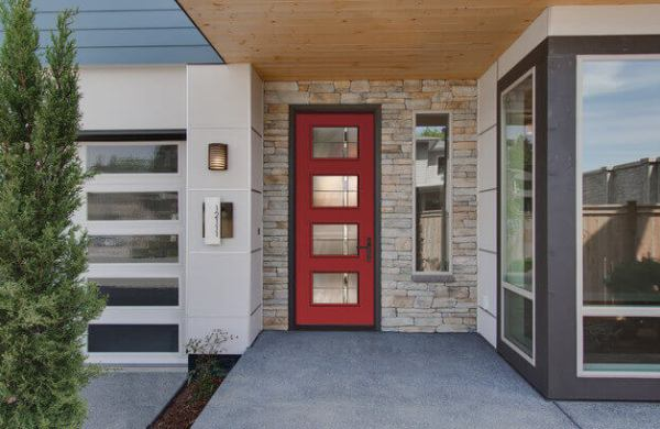 Red Fiberglass Entry Door