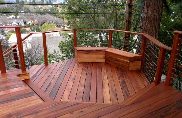 Tigerwood Deck with Benches