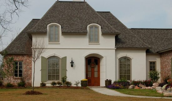 White stucco on a tudor style home