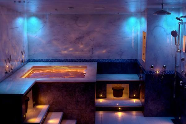 aromatherapy and lighting in a steam shower room