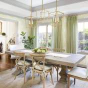 country style dining room with grey trim