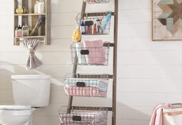 vertical space saving bathroom storage