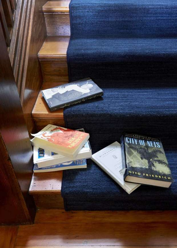 "A close-up of a ""waterfall"" installation with bound edges in the home of Michael Chabon and Ayelet Waldman; for more go to The Mysteries of Berkeley: A Literary Couple at Home."