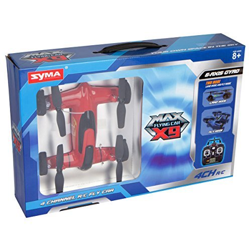Syma X9 RC Remote Control 2.4GHz 4-Channel 6-Axis Gyro Flying Car Drone with Battery, Red