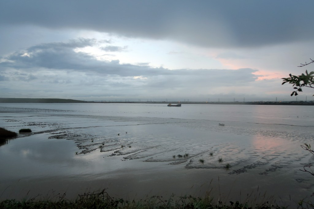 The River Thames, seen from Dartford Marshes at dusk.