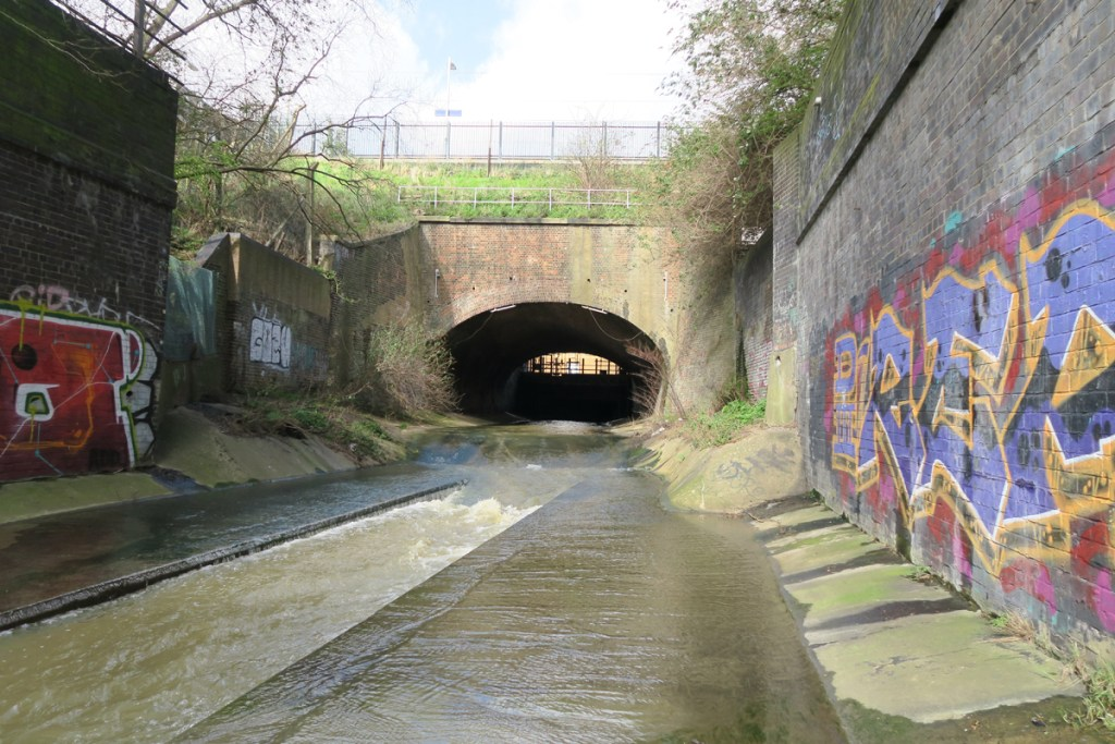 The River Rom emerges from a tunnel below Romford.