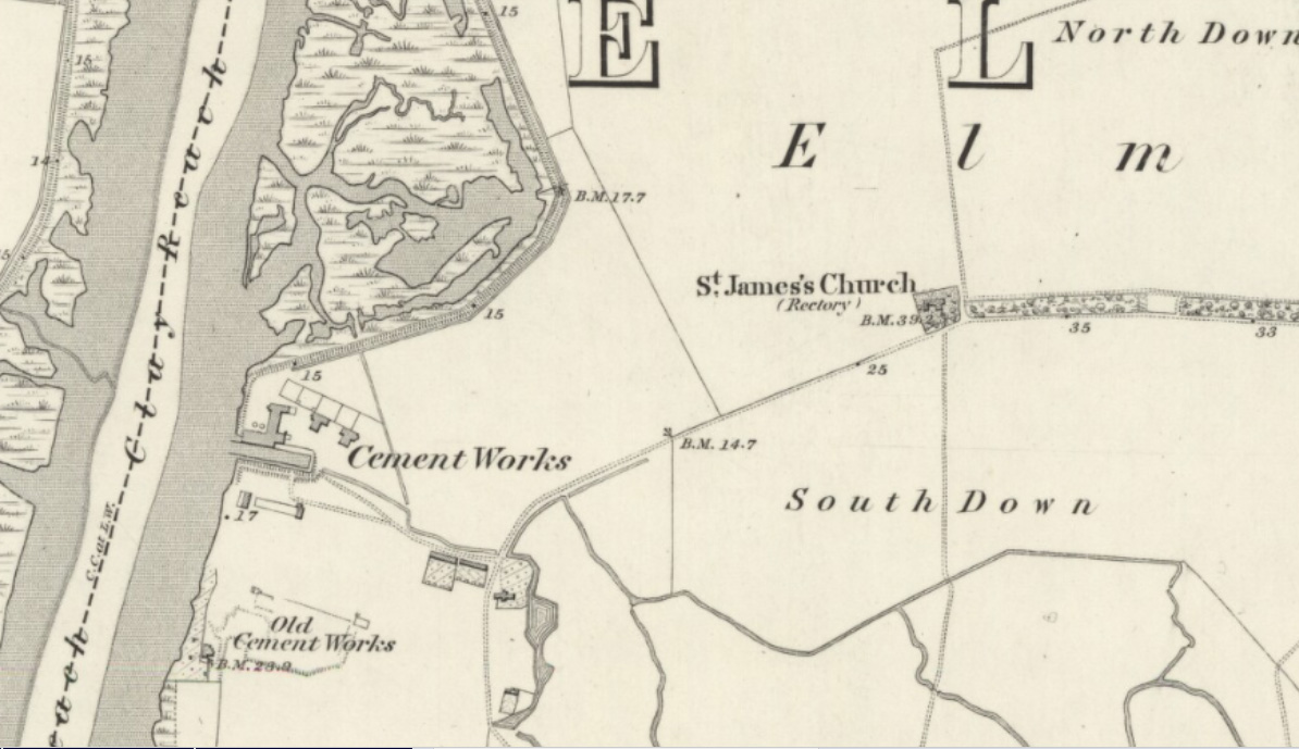 An 1865 map of Elmley Island