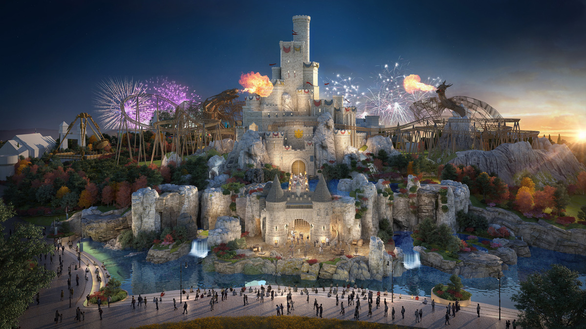 Chaotic image of huge, towering theme park flanked by giant fire-breathing dragons and fireworks