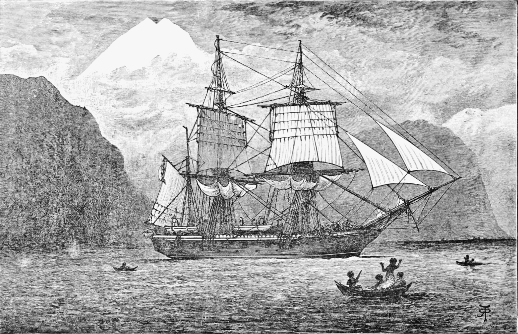 HMS Beagle depicted in a contemporary reproduction