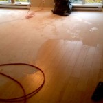 Cleanup after ceiling popcorn texture removal in Downtown Vancouver