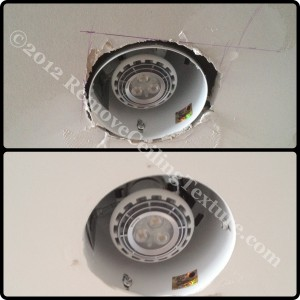 Cracked ceiling around pot light repaired