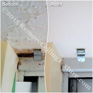 Water damaged ceilings near doorway