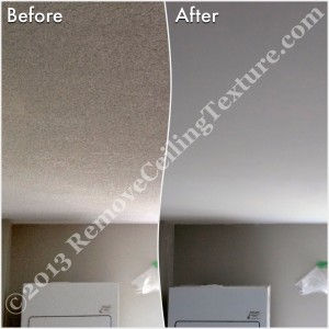 The laundry room gets updated thanks to popcorn ceiling texture removal.