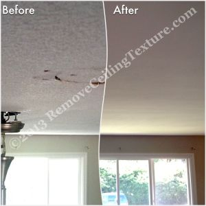 Ceiling repair and texture removal in living room of Langley home