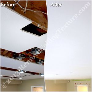 North Vancouver home gets ceiling texture removed after installing potlights - both great interior design ideas