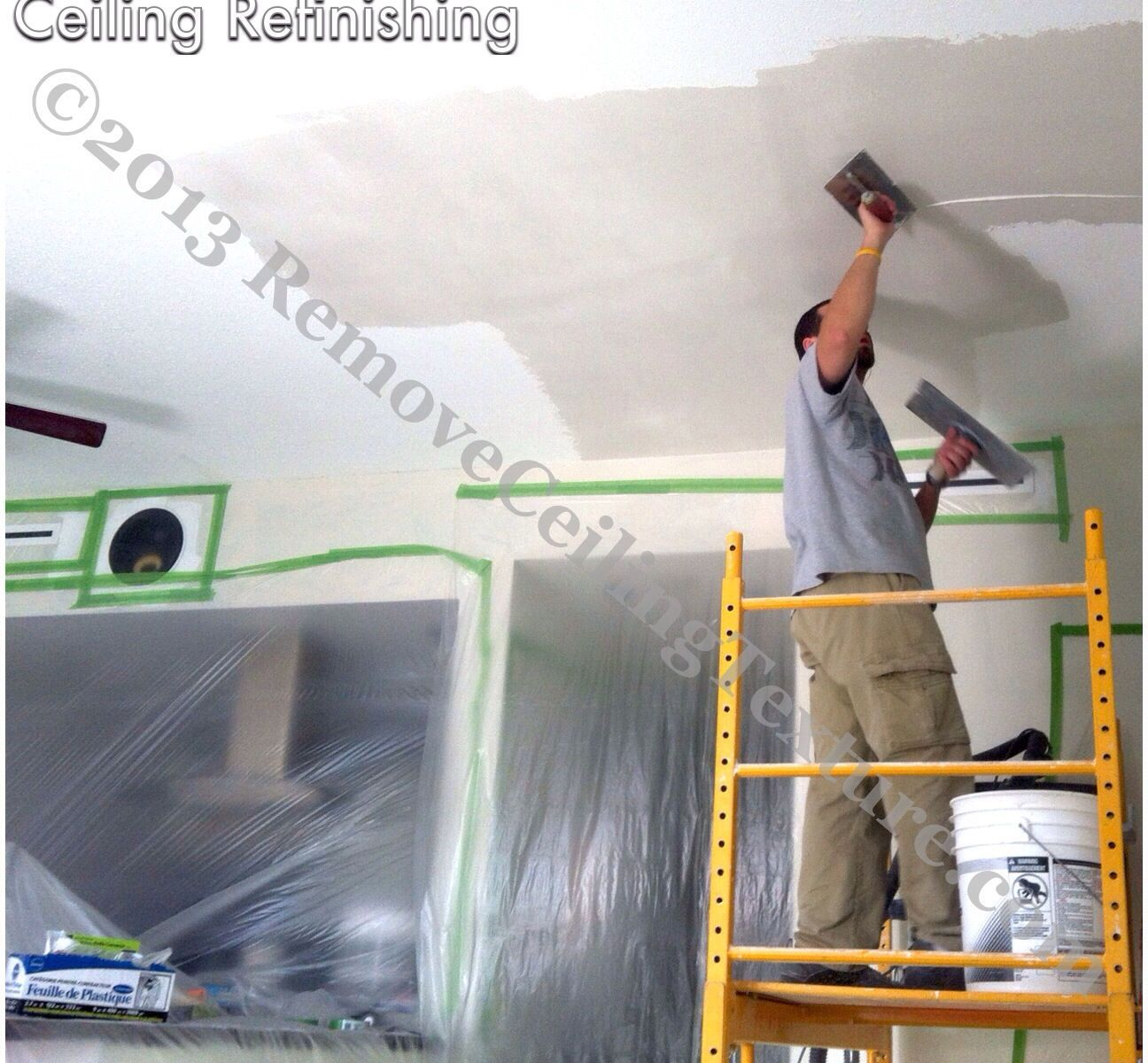 Ceiling refinishing using the same method used by plaster artisans