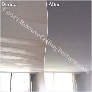 Fixing Bad Ceilings: You can see how RCT needed to fill in the waves left in the ceiling after ceiling texture removal was attempted by an inept company.