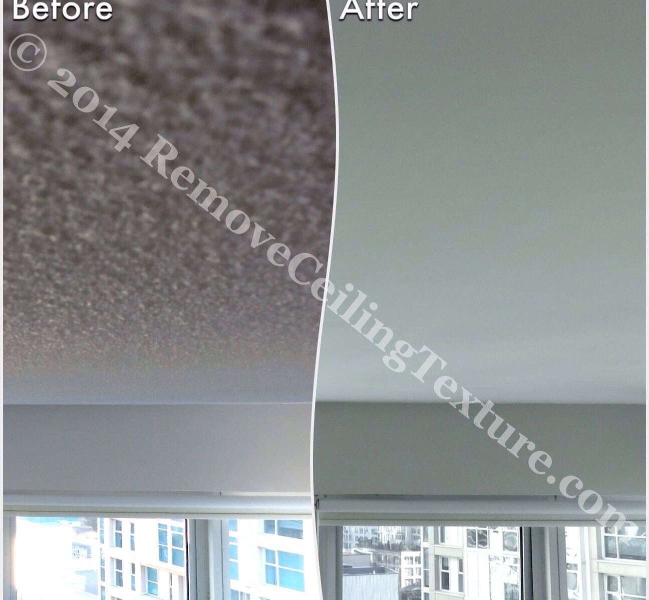 Once professional ceiling contractors were called in, the texture removal went smoothly: Living room with smooth ceilings - condo at 1331 Homer St, Vancouver