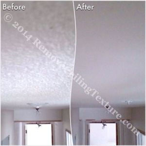 Asbestos in Popcorn Ceilings: Before and after of hallway in North Vancouver