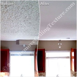 Textured Ceiling Removal:  Before and after of kitchen at Windward Dr.