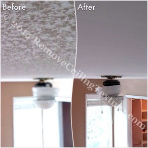 Covering Popcorn Ceilings: Before and after photo of a bedroom in Delta