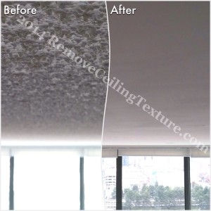 How to Remove Popcorn Ceilings article:  Popcorn ceiling removal at a condo at 1128 Quebec St, Vancouver - Living Room