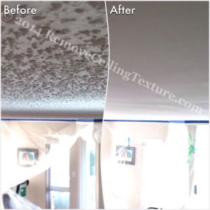 Popcorn ceiling removal at a condo at 781 Jameson Crt, New Westminster - Living room