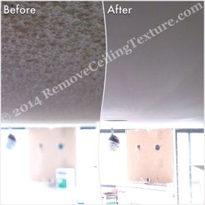 Living room before and after of popcorn texture removal at a condo in Vancouver